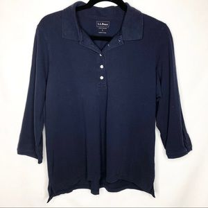 LL Bean Slightly Fitted Stretchy 3/4 Sleeve Polo
